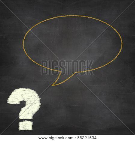 Orange Speech Bubble On Black Chalkboard