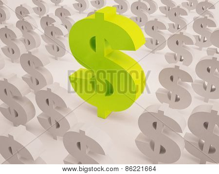 3D Big And Small Dollar Text Sign
