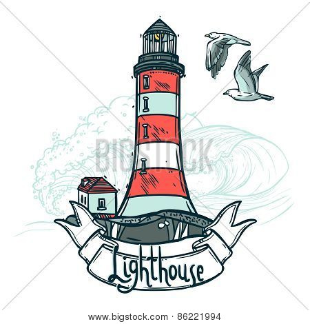 Lighthouse Sketch Illustration