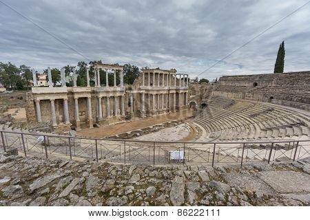 The Roman Theatre in Merida, Spain. Wide angle View
