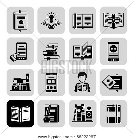 Books Icons Black Set