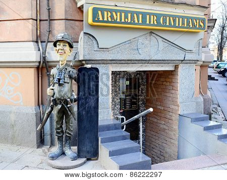Military And Civil Clothes Shop Exterior And Advertising
