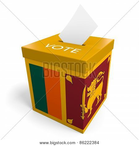 Sri Lanka election ballot box for collecting votes