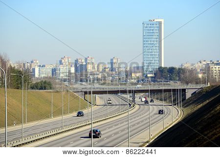 Bybass Of Vilnius City In Western Side Of The City