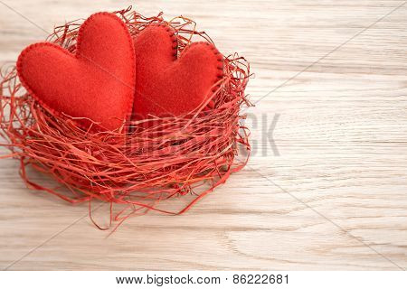 Valentines Day. Handmade Hearts Couple In Red Nest. Love Concept
