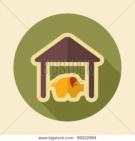 Pigsty Retro Flat Icon With Long Shadow
