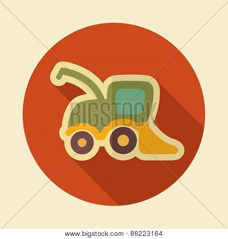 Combine Harvester Retro Flat Icon With Long Shadow