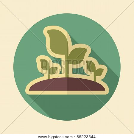 Plant Sprout Retro Flat Icon With Long Shadow