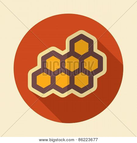 Honeycomb Bee Retro Flat Icon With Long Shadow