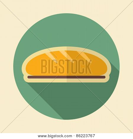 Bread Retro Flat Icon With Long Shadow