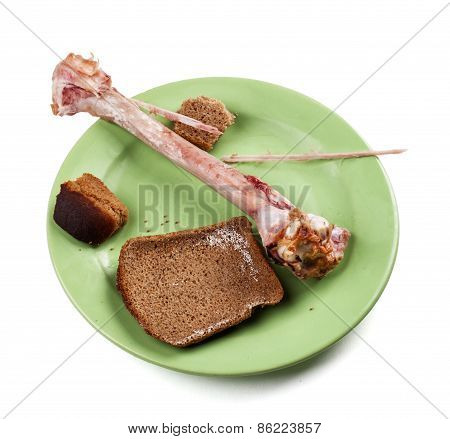 Leavings. Dirty Plate After Food From The Remains - Stock Image