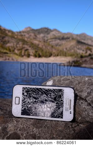 Broken Modern White Smartphone