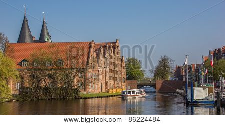Tour Boat Going Through A Canal In Lubeck