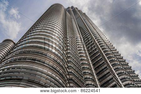 Petronas Towers At Wide Angle In Kuala Lumpur