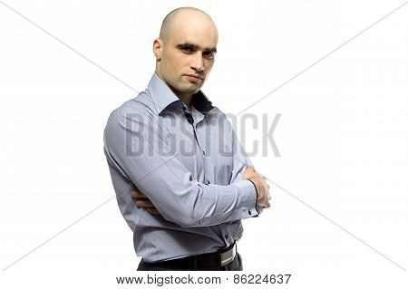 Photo of young hairless business man