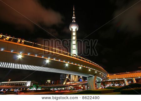 A Night View of the Oriental Pearl Television Tower