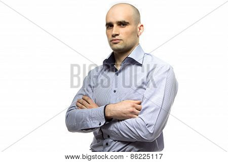 Image of young hairless business man