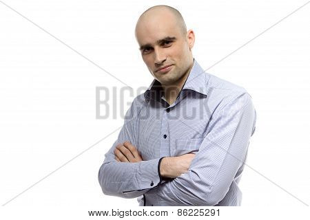 Image of smiling young hairless business man