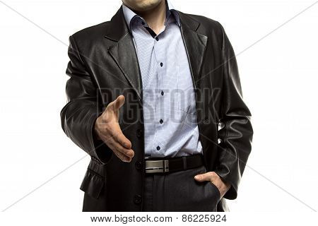 Photo of business man offering a handshake