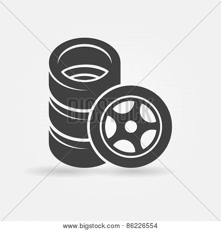 Car wheel and tires icon