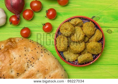 Falafel, Turkish Pide Bread And Vegetables