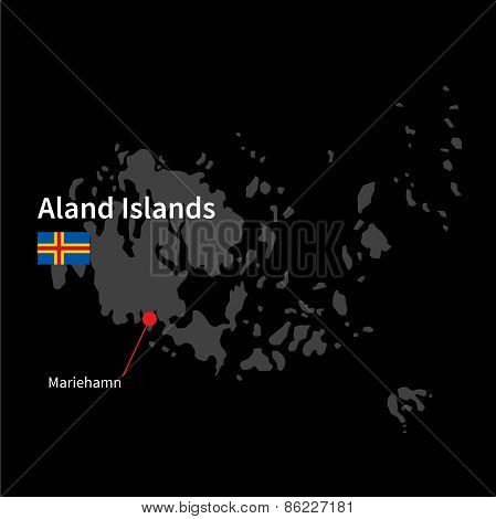 Detailed map of Aland Islands and capital city Mariehamn with flag on black background