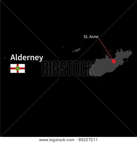 Detailed map of Alderney and capital city St. Anne with flag on black background
