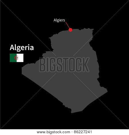 Detailed map of Algeria and capital city Algiers with flag on black background