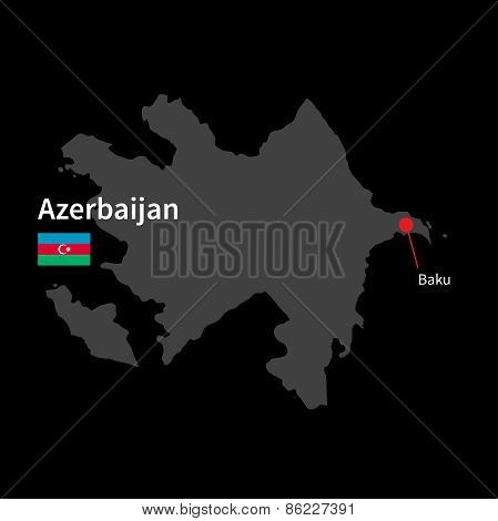 Detailed map of Azerbaijan and capital city Baku with flag on black background