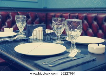 Table setting in a traditional pub, toned, image