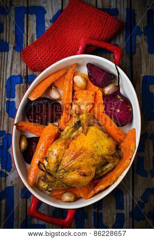 The Chicken Baked With Root Crops.