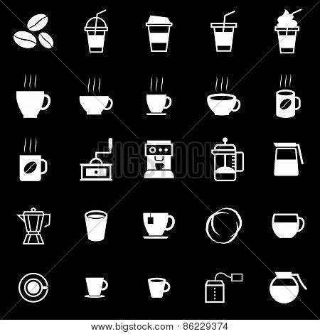 Coffee Icons On Black Background