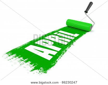 Paint roller with april (clipping path included)