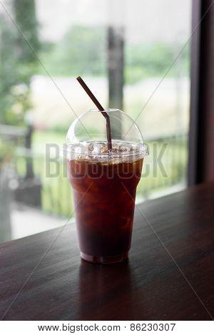 Iced Coffee Americano Or Iced Black Coffee.