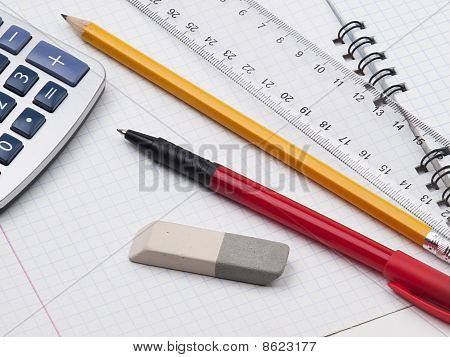 Set Of Educatoins Tools On The Workbook Page