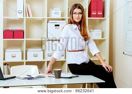 Young businesswoman working in a modern office.