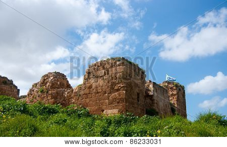 Israeli Flag Over Kakun Castle Ruins