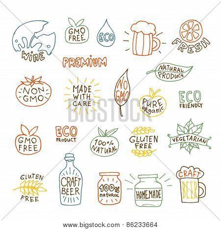 Set of hand drawn natural badges and labels vector illustration