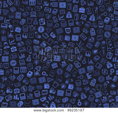 Business and Finance Seamless Pattern. Background with Silhouette Icons. Vector