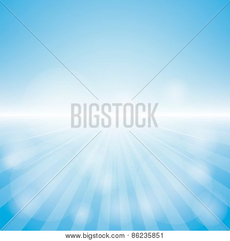 Empty Blue Color Background With Sunburst at the lower side. for sample text.