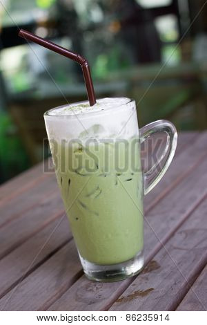 Glass Of Iced Green Tea Latte.
