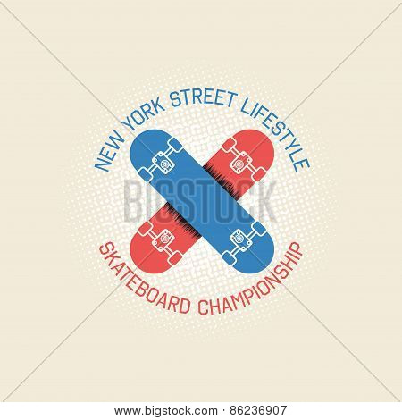 Stamp Of Skateboar Championship For Typography