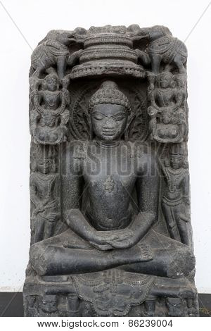 KOLKATA, INDIA - FEBRUARY 15: Rishabhanatha, from 11th century found in Basalt, Kosam, Allahabad now exposed in the Indian Museum in Kolkata, on February 15, 2014