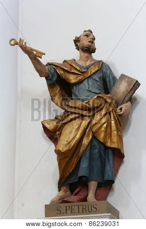 ELLWANGEN, GERMANY - MAY 07: Saint Peter the Apostle, Basilica of St. Vitus in Ellwangen, Germany on May 07, 2014.