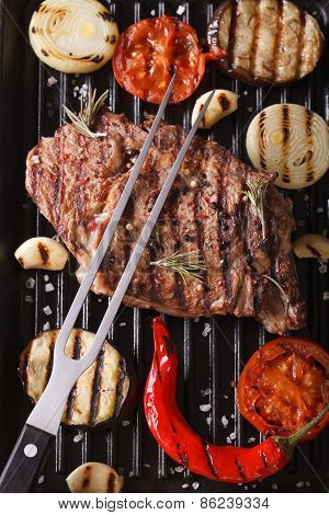 Beef Steak And Vegetables On The Grill. Vertical Background