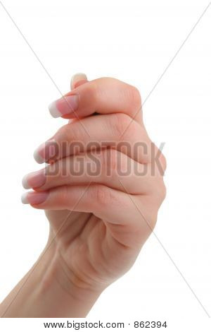 female hand holding invisible object