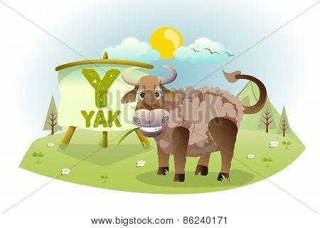 Funny Cartoon Alphabet Y With Yak