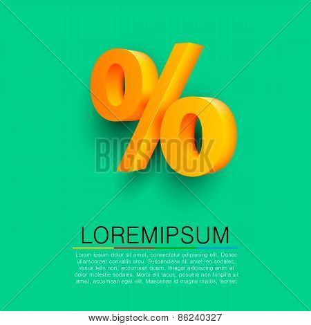 Golden percent sign on green background