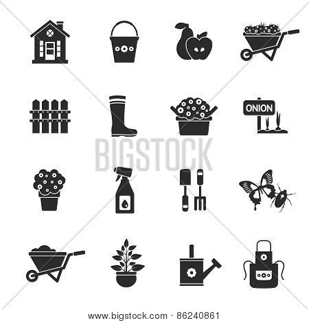 Gardening Black Icons Set