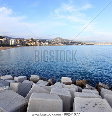 View from pier to Malagueta area, Malaga, Spain